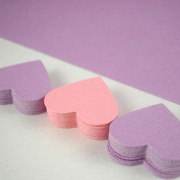 Romantic wedding - 100 romantic love paper hearts confetti for your wedding - soft pink and purple die cut hearts