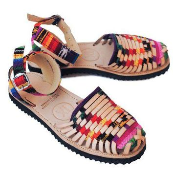 Women's Traditional Mayan Strapped Woven Leather Huarache Sandals