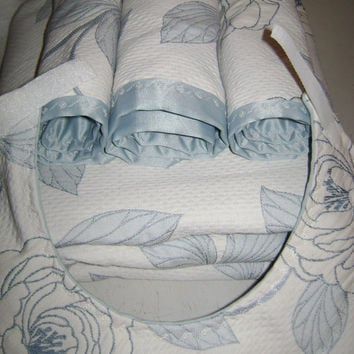 Baby Blanket Quilt Filled with Three Burp Cloths and a Bib Blue & White Cotton Embroidery Material and Satin Soft Baby Cozy Blanket