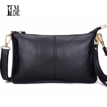 Genuine Leather Women Day Clutch Bags Real Skin Cowhide Envelope Small Shoulder Organizer Purse Eevening Party Ladies Wristlet