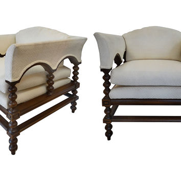 Spanish Colonial Revival Chairs, Pair