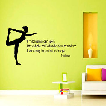 Yoga Quote If I'm Losing Balance in a Pose... Sport Girl Gym People Decal Vinyl Sticker Decor Home Interior Design Art Murals M755