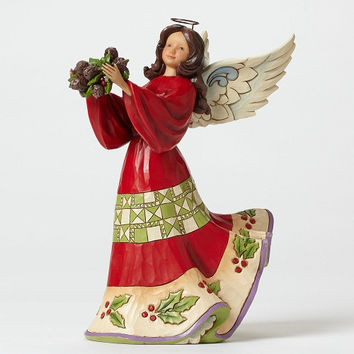 Jim shore Red and Green Angel With Holly-4047761