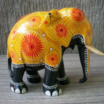 1970s Vintage Sri Lanka Enamel Painted Elephant Wood Carving Figurine