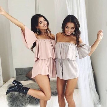 Strapless Strappy Solid Color Romper Jumpsuit