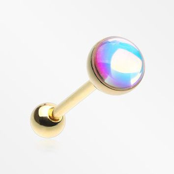 Golden Iridescent Revo Barbell Tongue Ring