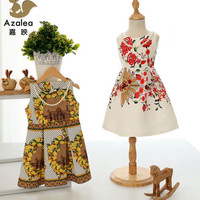 2015 Summer New Girls Korean Retro Printing Princess Dress Children's Dresses.