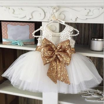 Beautiful Baby Girls Sweet Sequins Party Ball Gown Mini Dress Dance Dress Nice Gift