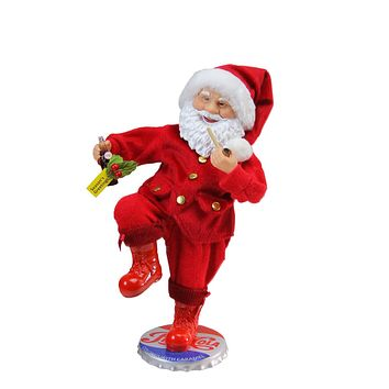 "12"" Santa Claus Standing on Vintage Style Pepsi-Cola Bottle Cap Christmas Figure"
