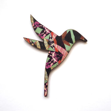 Hummingbird Wooden Brooch - Insect Pattern *Sold Out back in stock 18/04/16
