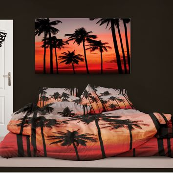 Palm Trees at Sunset Surfer Bedding Surf Comforter