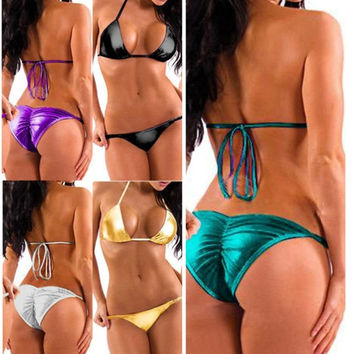 Women's Fashion New Purple Metallic Foil Bikini Top + Bottom Beachwear Stripper Wear = 1945891652