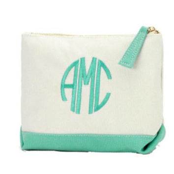 Monogrammed Mint Cosmetic Bag. Great Bridesmaid Gifts
