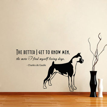 Vinyl Decal Quote About Dog Cute Animal Puppy Pet Shop Housewares Home Wall Art Decor Stylish Sticker Unique Design for Any Room V568