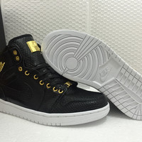 Air Jordan 1 Pinnacle 24K 1985 Black/Gold Men Sport Sneaker