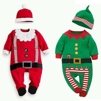 Xmas Christmas Kids Clothes Santa Claus Cosplay Costume for Baby Kids Boy Girl Siamese Jersey Wizard Elf Christmas Gifts Romper