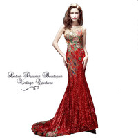 Vintage Red Floral Embroidered Mermaid Gown with Court Train