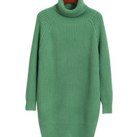 Turtle Neck Long Sleeves Ribbed Knitted Sweater