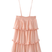 Pink Layered Ruffle Tie Shoulder Cami Dress