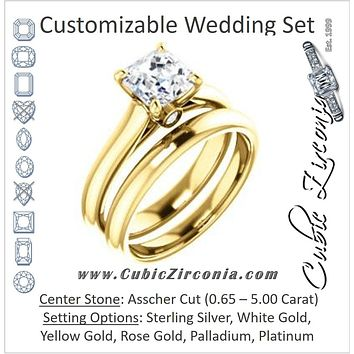 CZ Wedding Set, featuring The Tawanda engagement ring (Customizable Asscher Cut Cathedral Setting with Peekaboo Accents)