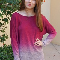 Simply Amazing Burgundy Ombre Wide Neck Long Sleeve Top