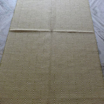 Green Color Theme Carpet, Reversible Cotton Rug, Size : 3' x 5' Feet, Hand Loomed Durrie, Yoga Mat, Geometrical Pattern