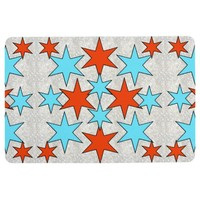 Blue and Red Star Print Floor Mat