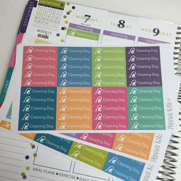 S100 CLEANING DAY Icon Label Sticker for Erin Condren Life Planner - 40 Removable Matte Stickers