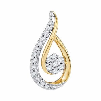 10kt Yellow Gold Women's Round Diamond Teardrop Cluster Pendant 1-4 Cttw - FREE Shipping (US/CAN)