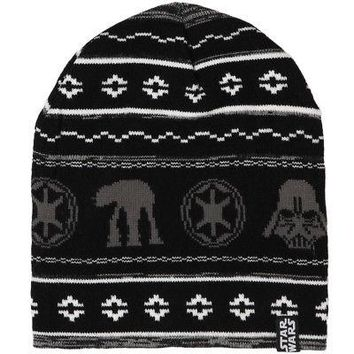 Star Wars Holiday Galactic Empire Knit Licensed Adult Unisex Beanie Hat - Black