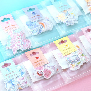 70pcs pack Kawaii Stickers Romantic Small Sticker Painted Watercolor Diary Photo Decorative Stickers