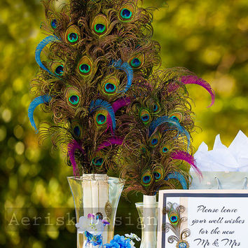 Peacock feather Table Center Piece (24 inches Tall or more) Grand feather centerpiece - Ready out of box - Weddings and Birthday party