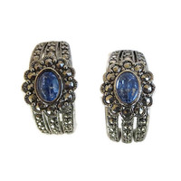 Vintage Blue Rhinestone & Marcasite Half Hoop Earrings by Avon