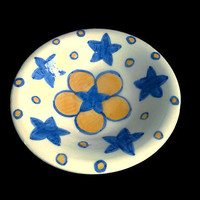 Plate- Small ceramic pottery dish-Flower star dish- Decorative blue and yellow dish- Handmade with hand painted stars and flower.