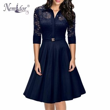Nemidor 2018 Hot Sales Women A-line 3/4 Sleeve Casual Swing Dress Elegant Hollow Out Turn-down Collar Retro Midi Lace Dress