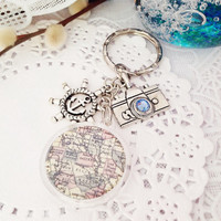Vintage Map Acrylic Pendant Keychain or Bag Charm, Purse Charm, Zipper Pull Charm, Planner or Filofax Charm