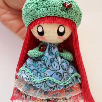 Textile brooch raspberry and mint Tosya doll jewerly for girl