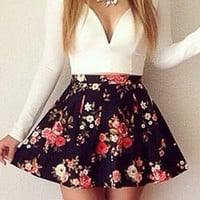 Long Sleeve Sweetheart Neckline Dress with Floral Skater Skirt