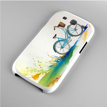 Watercolor bicycle colorful landscape Samsung Galaxy S3 Case
