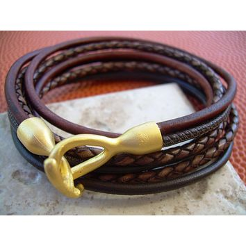 Triple Wrap Leather Bracelet with 22k Gold Plated Hook Clasp, Leather Bracelet, Mens Bracelet, Womens Bracelet, Mens Jewelry, Womens Jewelry