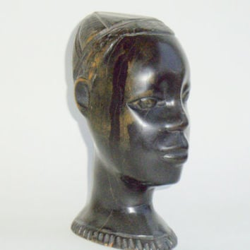 Yoruba Ife Carved Ironwood Head, Boy Kufi, Nigeria, African Art Oni Sculpture, Carving Wood
