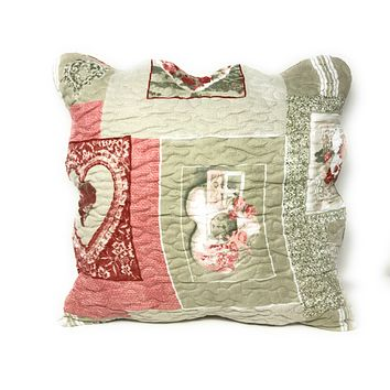 Tache Dainty Sweetheart Cottage Square Pillow Accent Cushion Covers Scalloped Multi 2 Piece (SD-17007-2PC-CC)