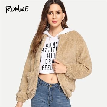 Trendy ROMWE Apricot Faux Fur Dual Pocket Teddy Jacket Women Casual 2018 Autumn Plain Hooded Clothing Coat Female Zipper Outerwear AT_94_13