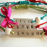 live love laugh sterling silver bracelets- multicolor cords- adjustable size