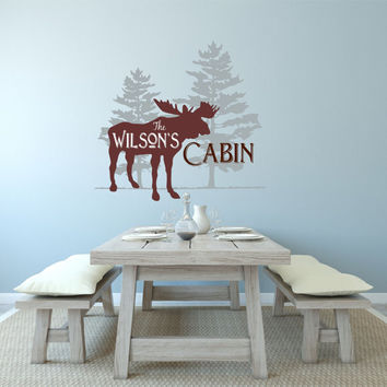 Personalized Cabin Decal, Family Cabin Wall Decal, Cabin Decal, Lodge Decor, Cabin Decor, Moose Decal, Hunting Decal, Hunting Cabin