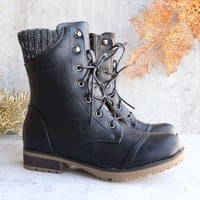 in the woods ankle sweater boots black