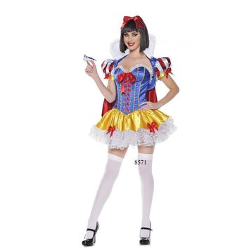 Charming Overbust Pattern Cosplay Snow White Princess Costume Carnival Halloween Adult Colorful Princess Costumes
