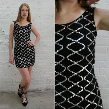 80s sequin bodycon dress / silver sequin sleeveless bandage dress / black stretchy fitted party dress
