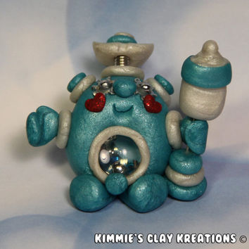 Polymer Clay Robot - It's a Baby Boy Robot Figurine Cake Topper - Miniature Whimsical Character Sculpture - BubbleBellyBotBaby