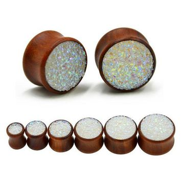 ac ICIKO2Q Synthetic Druzy Mineral Stone Double Flared Saddle Ear Gauge Wood Flesh Tunnel Plug Piercing Body Jewelry Expanders